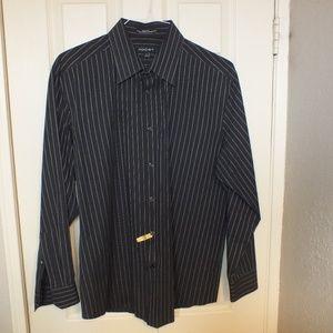 AXIST Slim Fit Pin Stripe Shirt Size 17 34/35 Blk